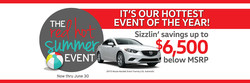 The Red Hot Summer Event at Capistrano Mazda offers drastic price markdowns on many of the dealership's Mazda models, as well as the no money down True $0 Due Lease special.