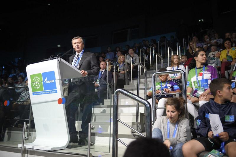 Viktor Zubkov at International Children`s Forum (PRNewsfoto/Gazprom Football for Friendship)