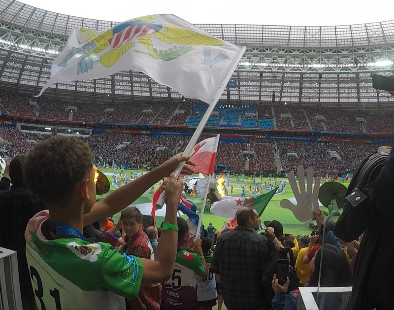 Young F4F Ambassadors at the FIFA World Cup Opening Ceremony (PRNewsfoto/Gazprom Football for Friendship)