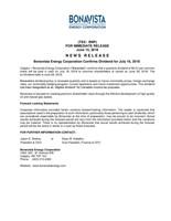 Bonavista Energy Corporation Confirms Dividend for July 16, 2018 (CNW Group/Bonavista Energy Corporation)