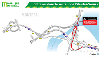 Entraves dans le secteur de L'île-des-Sœurs (Groupe CNW/Ministère des Transports, de la Mobilité durable et de l'Électrification des transports)