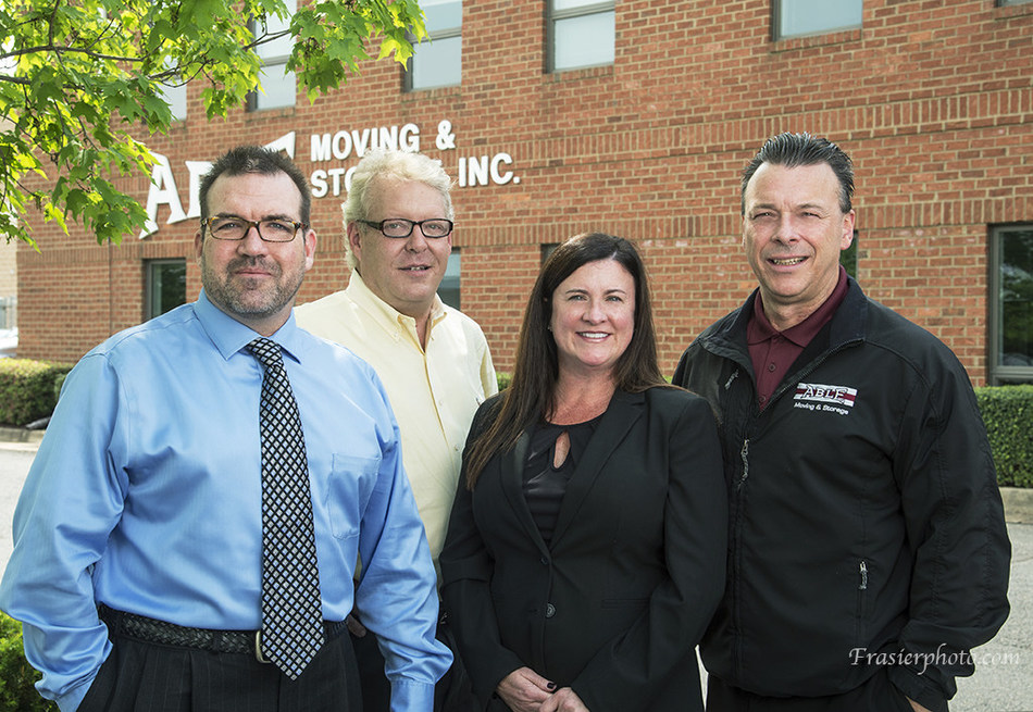 From Left. Longtime industry sales leaders Chris Cox and Kevin Roy chose to bring their customers to Able after Office Movers closed its doors, and moving executives Kim Dize and Mike Murphy also now showcase their organizational talents at Able.
