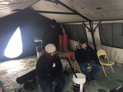 Wounded Warrior Project® veterans hit frozen Medicine Lake with rod and reel in hand to go ice fishing for walleye, bluegill, or anything else willing to bite.
