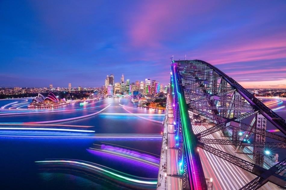 The sun will soon set over the final night of Vivid Sydney 2018. (PRNewsfoto/Destination NSW)