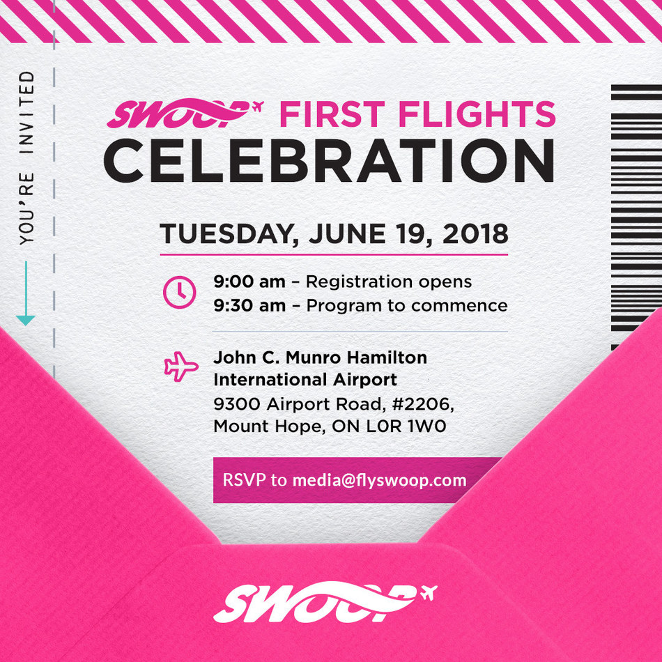 Please RSVP or schedule interview times by emailing media@flyswoop.com. (CNW Group/Swoop)