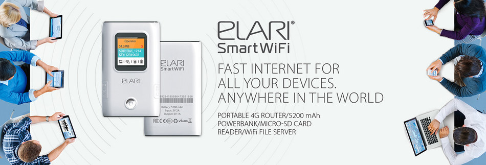 The new ELARI product: portable 4G router/5200 mAh powerbank/MicroSD card reader/WiFi file server (PRNewsfoto/Elari)