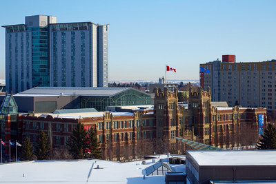 SAIT Residence – Begin Tower is on the left, and East Hall is on the right (CNW Group/Campus Living Centres)