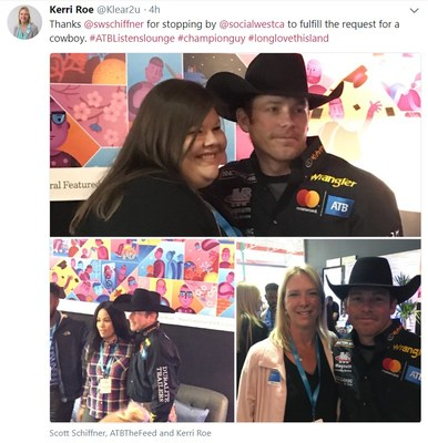 Bullriding Champion Scott Schiffner stopped by SocialWest to surprise attendees hoping to see a cowboy. (CNW Group/Social West)