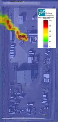 Ball Aerospace detected methane leaks as part of the EDF and Stanford University Mobile Monitoring Challenge. (PRNewsfoto/Ball Aerospace)