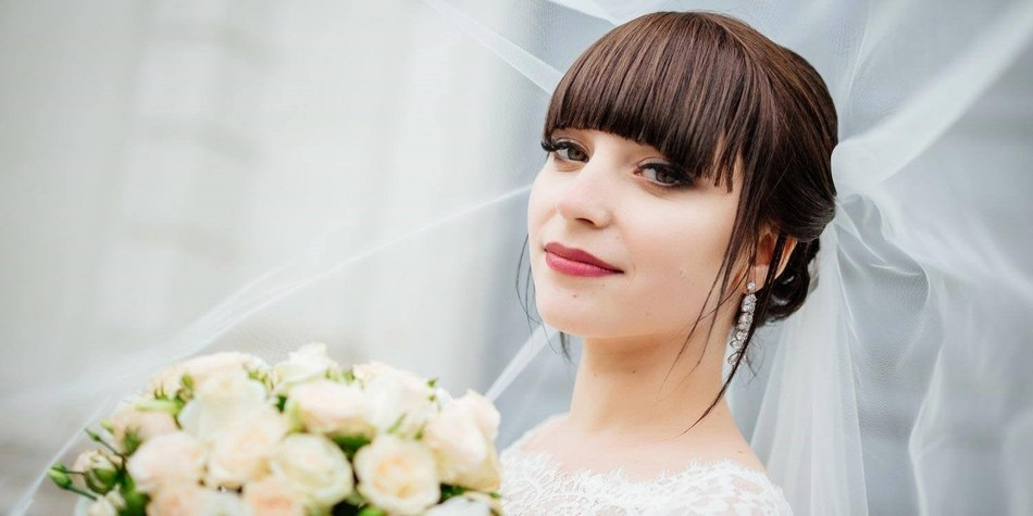 Smooth Hair with Bangs Wedding Hairstyle