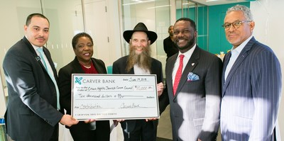 From left: Victor Taliaferrow, Crown Heights Branch Manager, Carver; Veda Davis, Retail District Manager, Carver; Rabbi Eli Cohen, Executive Director, Crown Heights Jewish Community Council; Michael T. Pugh, President and CEO, Carver; and Niles Stewart, Head of Business Banking, Carver