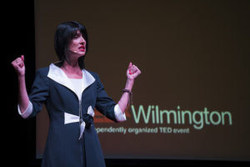 Author Laura J. Wellington on stage at TEDxWilmingtonLive