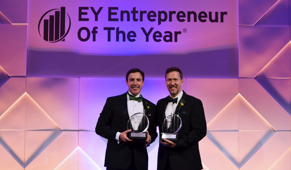 StreetShares co-founders Mark L. Rockefeller (CEO) and Mickey Konson (COO) accepting the Entrepreneur Of The Year® 2018 Award in the financial services category in the Mid-Atlantic region.