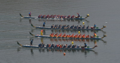 In the running-up to China's traditional Dragon Boat Festival, which falls on June 18 this year, a grand dragon boat competition was held in Yichang's Zigui County. (PRNewsfoto/Yichang Municipal Government)
