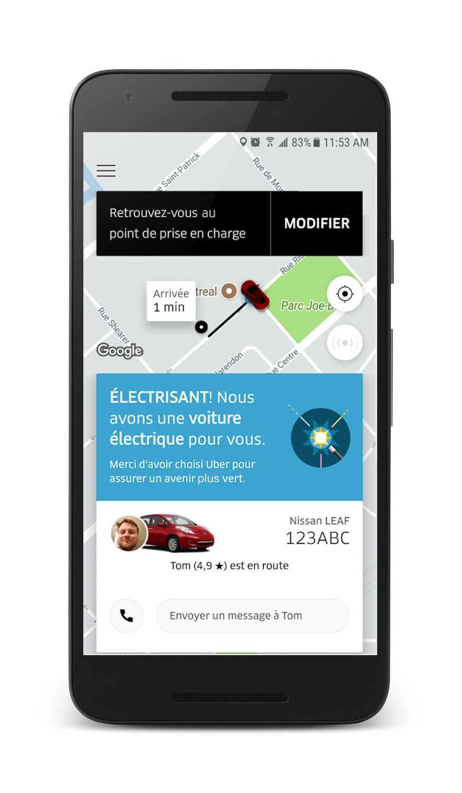 Screenshot of an UberÉLECTRIQUE ride in Montreal (CNW Group/Uber Canada Inc.)