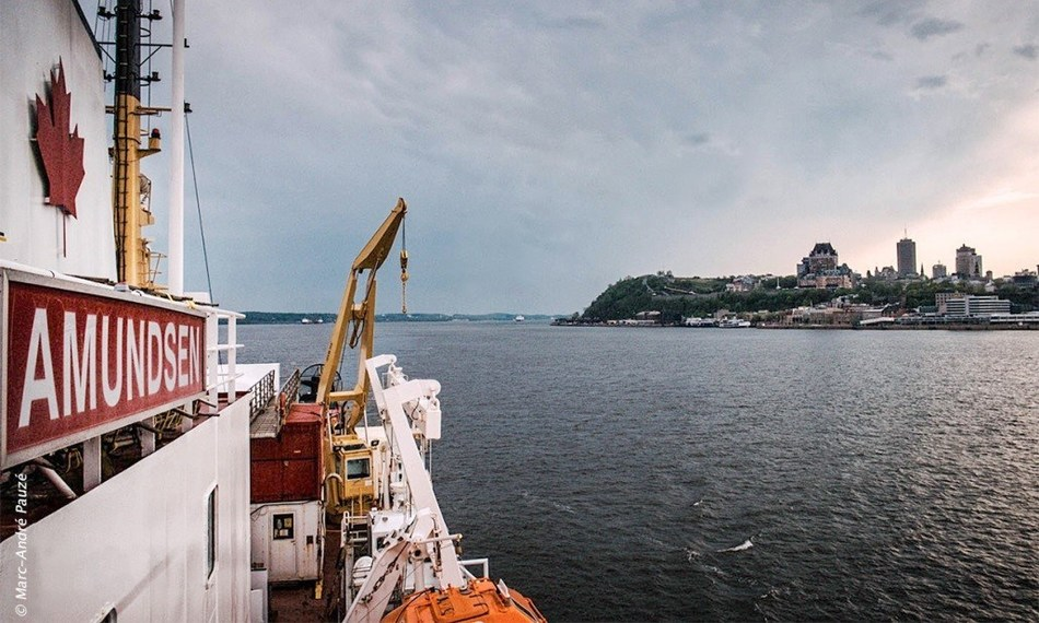 View from the deck of the CCGS Amundsen as it departed Quebec City for BaySys (Hudson Bay System) Study on May 25. Credit: © Marc-André Pauzé (CNW Group/Fisheries and Oceans Central & Arctic Region)