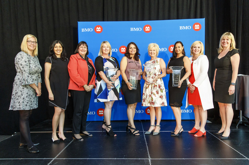 Vanessa Laroque, Regional Vice President Business Banking, Alberta North and Northwest Territories, BMO Financial Group; Mary Manhas, Senior Credit Manager, BMO Bank of Montreal; Susan Brown, Senior Vice President, Alberta and Northwest Territories Division, and Executive Sponsor, BMO for Women at BMO Financial Group (Keynote Speaker); Lori Pecorilli – BMO Celebrating Women 2018 Innovation & Global Growth Honouree; Debbie Michael – BMO Celebrating Women 2018 Community & Charitable Giving Honour (CNW Group/BMO Financial Group)