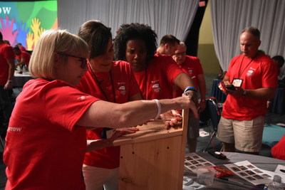 Astellas employees construct nesting boxes for birds and bats displaced by recent fires in Southern California.