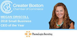 Megan Driscoll of PharmaLogics Recruiting wins First Ever Greater Boston Chamber of Commerce Small Business CEO of the Year Award.