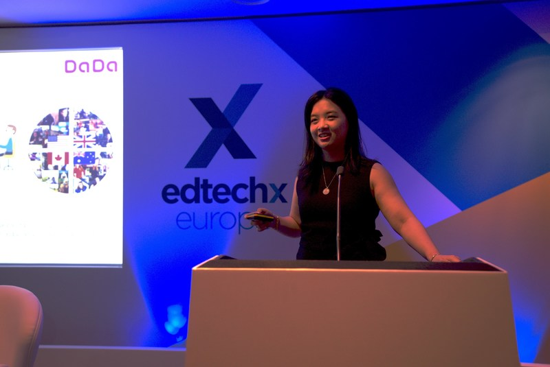 DaDa co-founder and vice president Joyce Shen speaking at the 2018 EdTech event