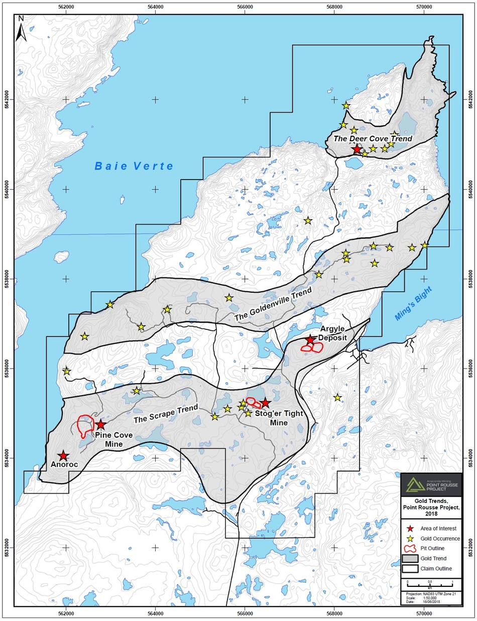 Exhibit A. A map showing the location of the three geological trends hosting prospective geology at Point Rousse with a cumulative strike of 20 km. The Scrape trend includes two operating mines and three gold deposits as well as numerous prospects and showings. (CNW Group/Anaconda Mining Inc.)