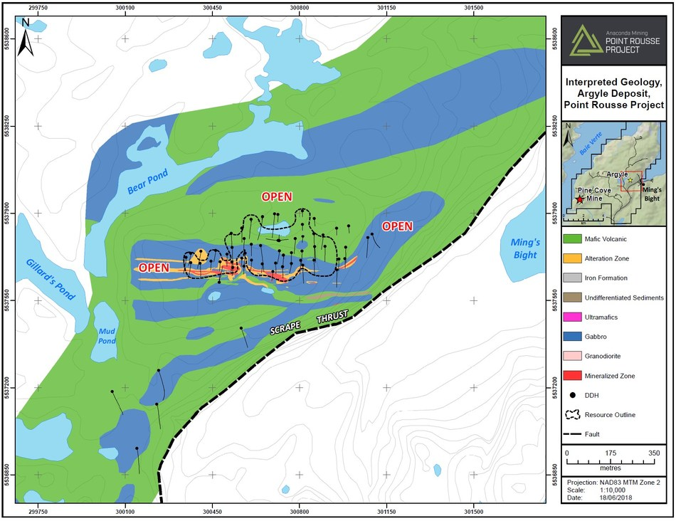 Exhibit B. A geological map of Argyle and surrounding area highlighting the strike of the deposit and the potential to expand in all directions. Exploration efforts will focus on a geophysical survey east of the current deposit followed by drilling to expand the deposit. (CNW Group/Anaconda Mining Inc.)