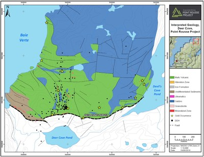 Exhibit D. A geological map of the Deer Cove area. This area shares similar geological relationships as the Scrape Trend and will be explored during the 2018 exploration program. (CNW Group/Anaconda Mining Inc.)