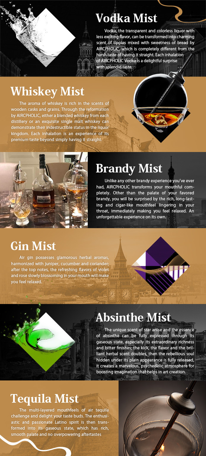 Various AIRCPHOLIC liquor mists.