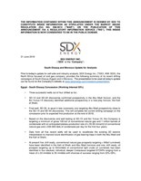 "SDX Energy Inc. (""SDX"" Or The ""Company"") - South Disouq and Morocco Update for Analysts (CNW Group/SDX Energy Inc.)"