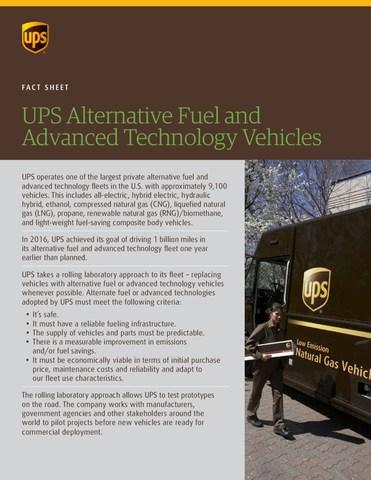 UPS Alternative Fuel Fact Sheet (CNW Group/UPS Canada Ltd.)