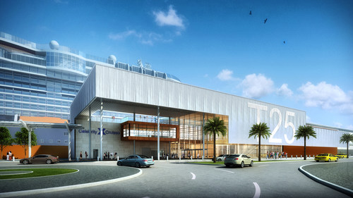 Terminal 25 at Port Everglades is Celebrity Cruises' first ever brand-designed cruise terminal, representing a major milestone for the modern luxury brand. Hi-res renderings are available for download at www.celebritycruisespresscenter.com.