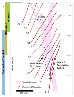 Figure 2: Schematic north-south cross section through the Triangle deposit, showing the positions of the newly-defined lower zones (C8, C9, C10) and locations of longitudinal section through the C10 zone (shown in Figure 3).  Many of the highest grade times thickness values from recent drilling occur in the south branch target area. (CNW Group/Eldorado Gold Corporation)