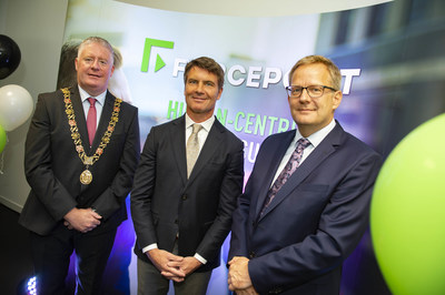 Councillor Mick Finn, Lord Mayor of Cork, Matt Moynahan and Andrew Vogelaar the Head of Growth Markets at IDA Ireland celebrate the opening of the Forcepoint Cork office.