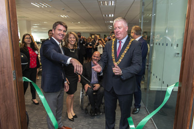 Lord Mayor of Cork Mick Finn, and CEO Forcepoint Matt Moynahan, cut the ribbon to formally open Forcepoint's Centre of Excellence in Cork