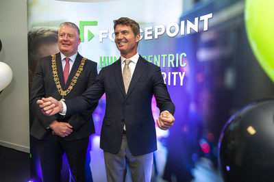 Councillor Mick Finn, Lord Mayor of Cork and Matt Moynahan at today's Forcepoint Centre of Excellence office opening in Cork