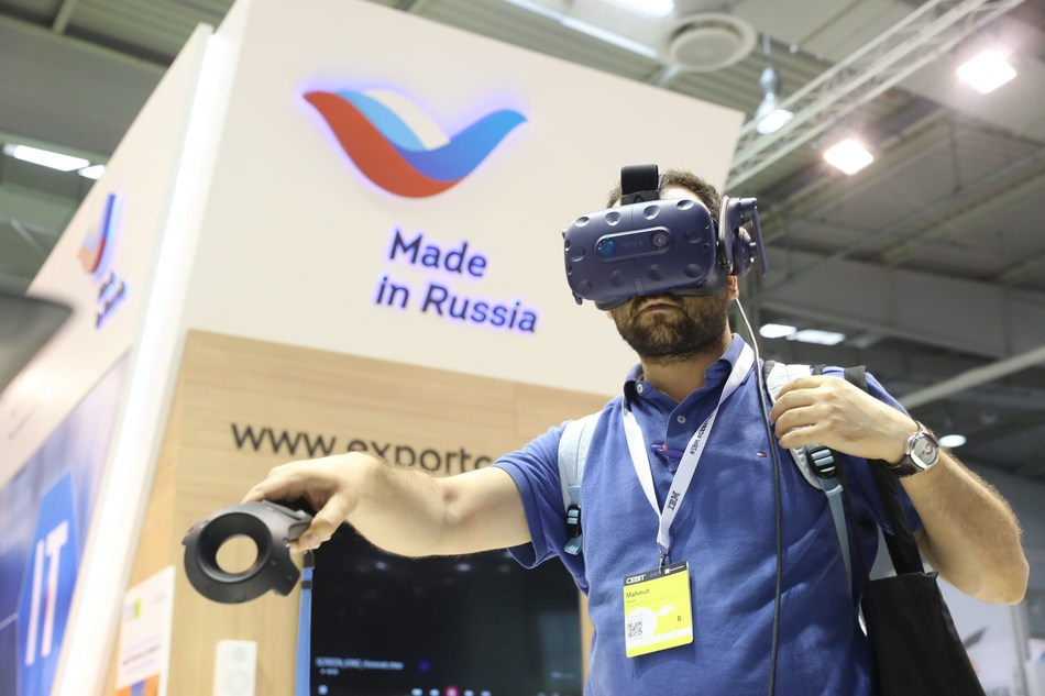 The work of the Russian exposition at CEBIT 2018 (PRNewsfoto/Russian Export Center)