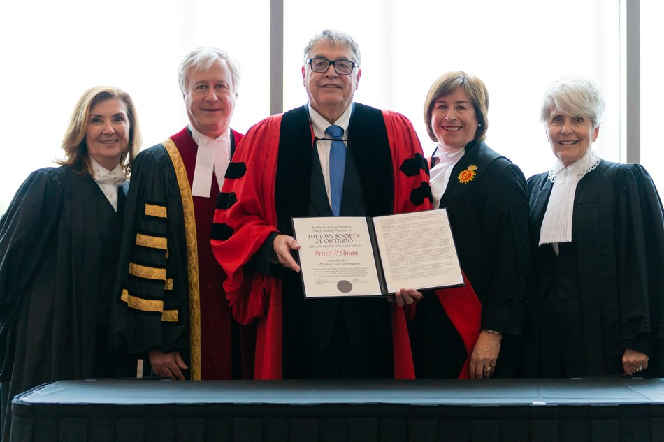 Members of the judiciary and the Law Society of Ontario congratulate University of Windsor Law Professor Bruce Elman (centre) on receiving an honorary LLD from the Law Society at the London Call to the Bar ceremony on June 20. Professor Elman received the honour in recognition of his distinguished academic career and his renowned teaching abilities and educational leadership. He was also recognized for his immense contributions to the legal profession as a whole. From left to right, are: Law Society Bencher Catherine Strosberg; Law Society Treasurer Paul Schabas; Professor Elman; Justice Lynne Leitch, Superior Court of Justice, Southwest Region-Middlesex County; and Law Society Ex-Officio Bencher Heather Ross. (CNW Group/The Law Society of Ontario)