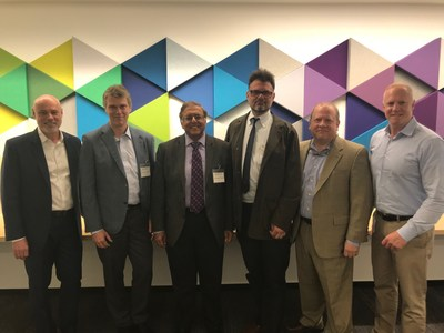 Leading experts convene to provide scientific guidance to Mallinckrodt R&D and portfolio strategy. Left to right: Stephen Murray, MD, PhD (MNK); Ulrich von Andrian, MD, PhD; Rashmin C. Savani, MD, ChB; Jorg C. Gerlach, MD, PhD; Elliott Gruskin, PhD (MNK); Steven Romano, MD (MNK)