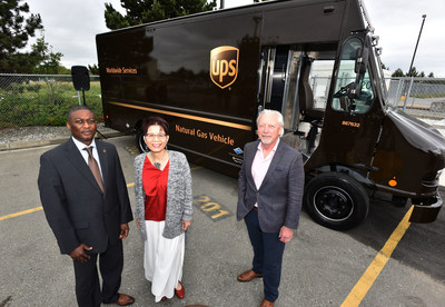 UPS Canada introduces compressed natural gas vehicles and a fueling station in Richmond, B.C. (Left to right: Floyd Bristol, vice-president of automotive, UPS Canada, Teresa Wat, MLA Richmond North Centre Riding, Douglas Stout, vice-president, market development and external relations, Fortis B.C.) (CNW Group/UPS Canada Ltd.)