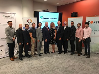 Members of the 2018 Ameren Accelerator cohort are joined by leaders from Ameren Corporation, Capital Innovators, UMSL Accelerate and the University of Missouri System in the @4240 building in Cortex, St. Louis' innovation hub and technology district.