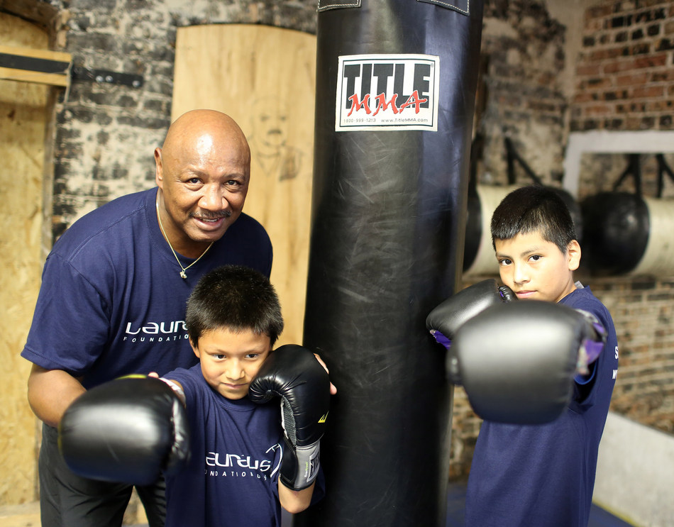 CHICAGO, IL: Laureus Academy Member Marvelous Marvin Hagler visits the Chicago Youth Boxing Club and participates in a session with youth on June 25, 2013 in Chicago, Illinois. Hagler discussed the importance of being involved with sports. (Photo by Tasos Katopodis/Getty Images for Laureus)