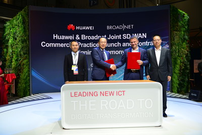 (From right to left) Kevin Hu, President of Huawei's Network Product Line, Martin Lippert, CEO of Broadnet, Lucas Tan, CEO of Huawei Technologies Norway AS, and Wang Shaosen, General Manager of Huawei's Enterprise Gateway Domain, attend the framework contract signing ceremony together. (PRNewsfoto/Huawei)