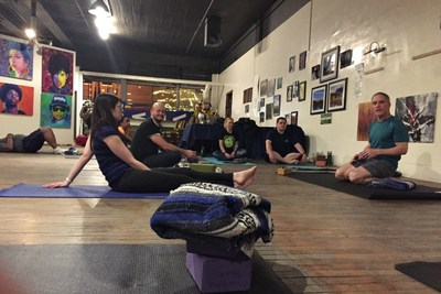 Wounded Warrior Project® organized an adaptive yoga workout that focused on the individual needs and ability levels of injured veterans and their family members. Expert yoga instructors provided personal coaching during the session.