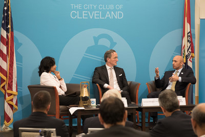 Ambassador Yousef Al Otaiba in a discussion on UAE's relationship with Ohio, including the strong relationship between the UAE and Cleveland Clinic with Dr. Tomislav Mihaljevic moderated by former US Ambassador to Malta Gina Abercrombie-Winstanley at the City Club of Cleveland.