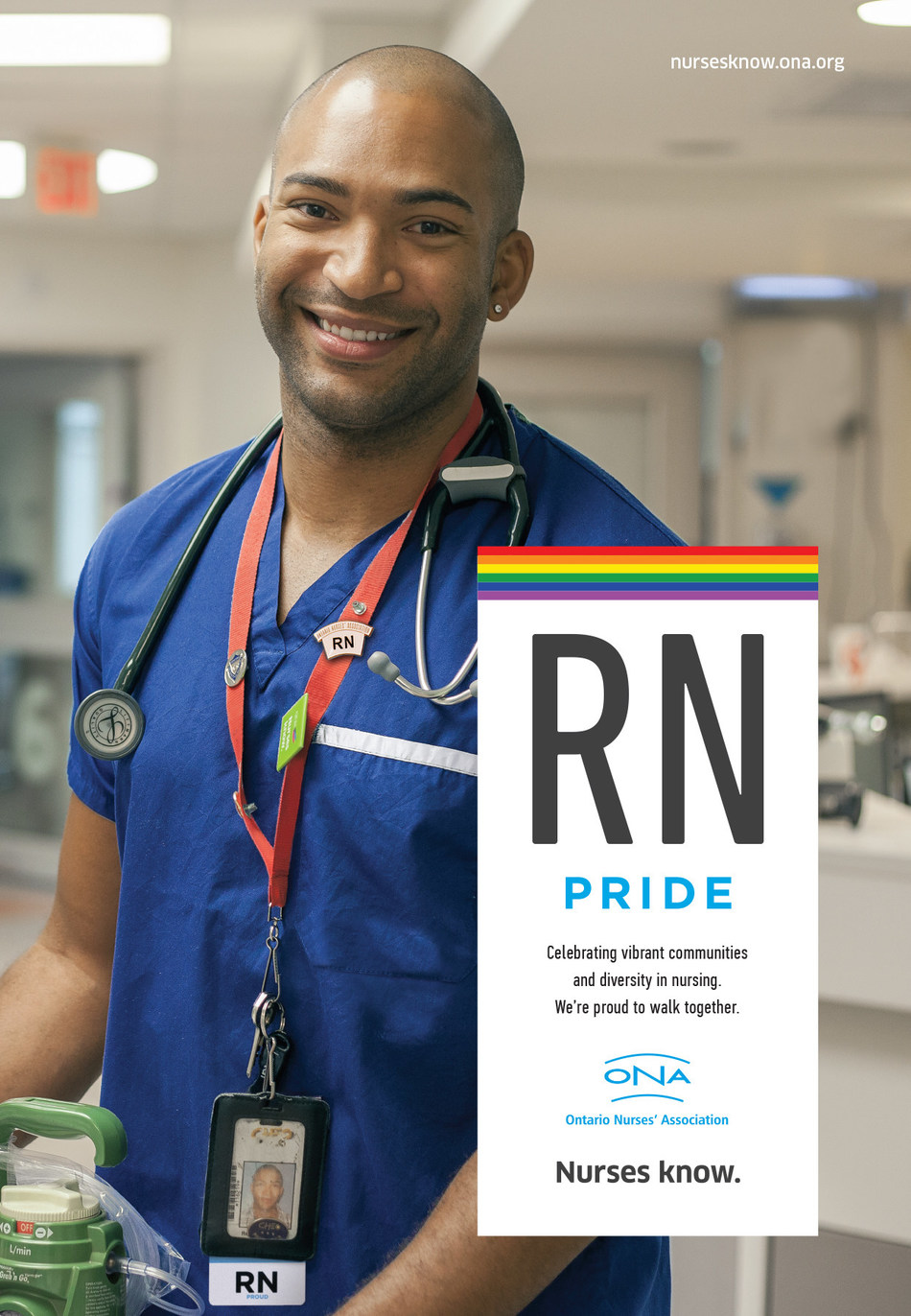 The Ontario Nurses' Association (ONA), Canada's largest nurses' union celebrates LGBTQ+ members and patients with 'RN Pride' ads on transit shelters in Toronto, London, Ottawa, and Thunder Bay. (Photo credit: CNW Group/Ontario Nurses' Association/Gregory Bennett) (CNW Group/Ontario Nurses Association)