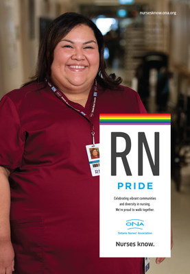 The Ontario Nurses' Association (ONA), Canada's largest nurses' union celebrates LGBTQ+ members and patients with 'RN Pride' ads on transit shelters in Toronto, London, Ottawa, and Thunder Bay. (Photo credit: CNW Group/Ontario Nurses' Association/Alex Lisman) (CNW Group/Ontario Nurses Association)