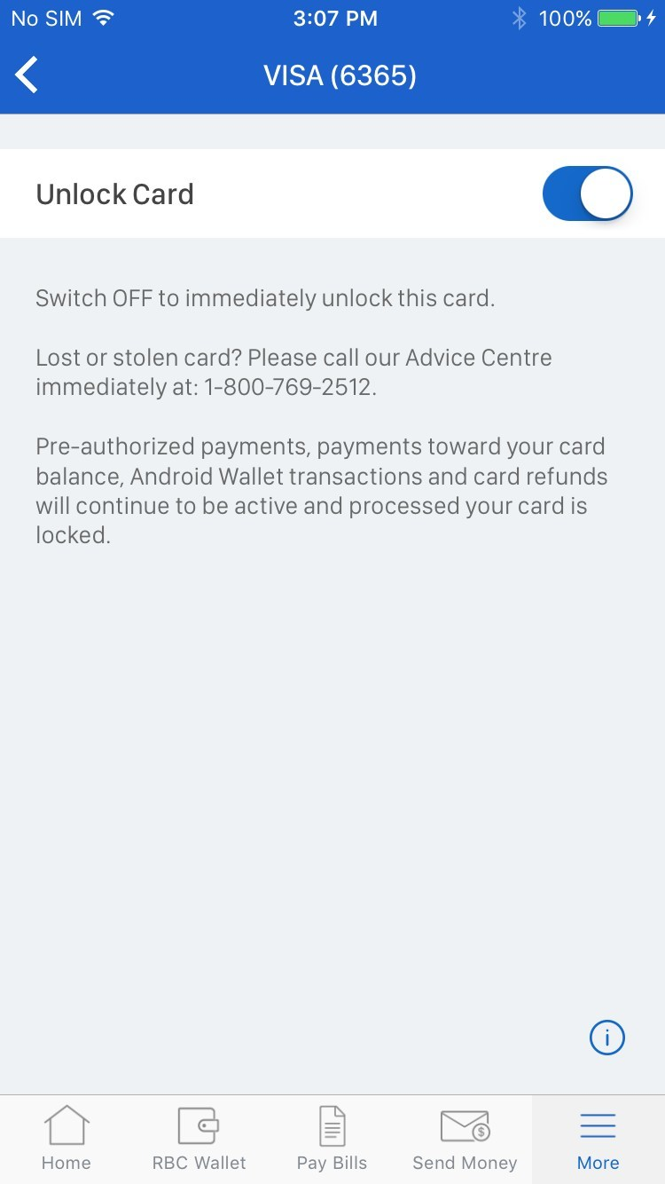 Credit card controls allows RBC Mobile clients to place or remove a temporary lock on their credit cards with a simple action. (CNW Group/RBC Royal Bank)