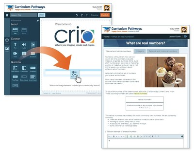 Crio�s drag-and-drop capability makes it easy for teachers to build engaging, interactive lessons.