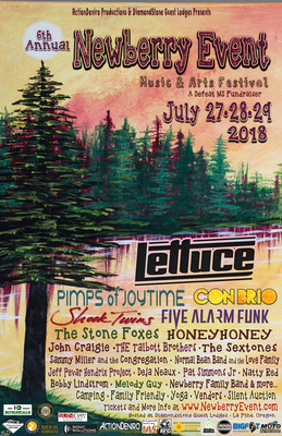 Lettuce Headlines Newberry Event Music & Arts Festival-Fundraiser At DiamondStone Guest Lodge July 27th – 29th