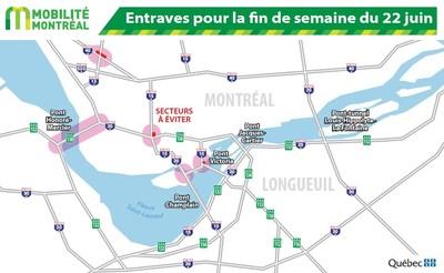 Principales entraves sur le réseau routier de la région de Montréal ce soir et la longue fin de semaine de la fête nationale (Groupe CNW/Ministère des Transports, de la Mobilité durable et de l'Électrification des transports)